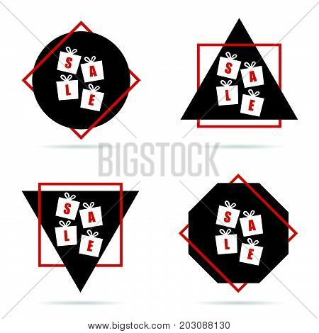 Sale Icon In Red And Black Color Illustration