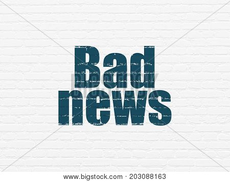 News concept: Painted blue text Bad News on White Brick wall background