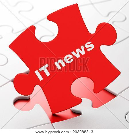 News concept: IT News on Red puzzle pieces background, 3D rendering