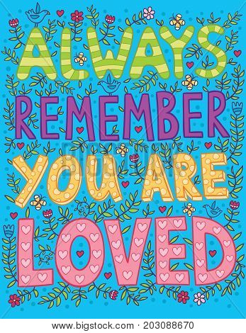 Always remember you are loved poster. Important words for each person.