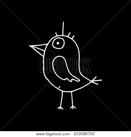Linear cartoon hand drawn bird silhouette. Cute vector black and white bird silhouette. Isolated monochrome doodle bird silhouette on black background.