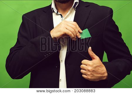 Guy In Classic Suit Isolated On Green Background