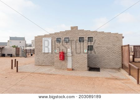CAPE CROSS NAMIBIA - JUNE 28 2017: The ablution facilities at the camping sites at Cape Cross Lodge in the Dorob National Park of Namibia