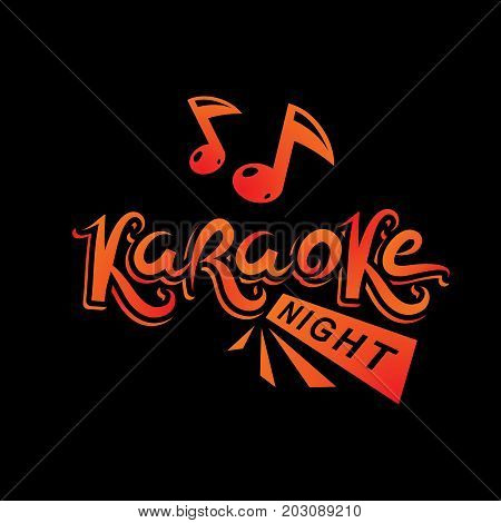 Karaoke party vector writing composed with musical notes leisure and relaxation lifestyle emblem for nightclub party invitation poster.