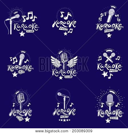 Collection of vector design elements which can be best used for karaoke theme emblems and posters composition. Nightlife entertainment and festival concept.