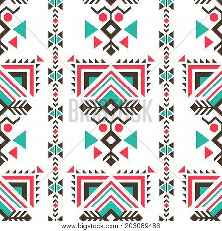 Tribal ethnic ornaments seamless indian style. The ethnic ornaments in indian style for designers and illustrators. American ancient patterns vector illustration