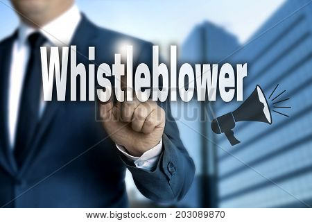 Whistleblower touchscreen is operated by businessman pictures