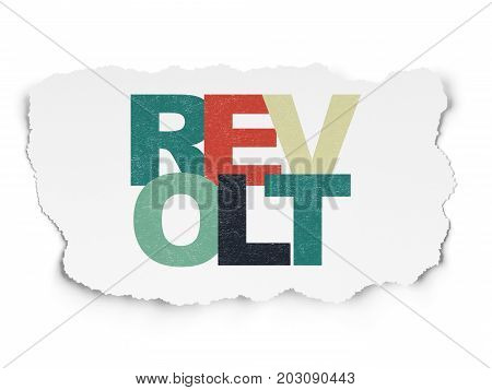 Politics concept: Painted multicolor text Revolt on Torn Paper background