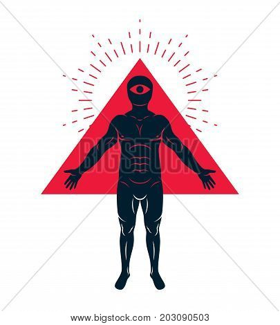Vector illustration of diverse individual mystic character created with triangular shape and an all-seeing eye inside. Mason metaphor.