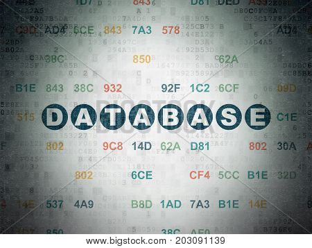 Database concept: Painted blue text Database on Digital Data Paper background with Hexadecimal Code