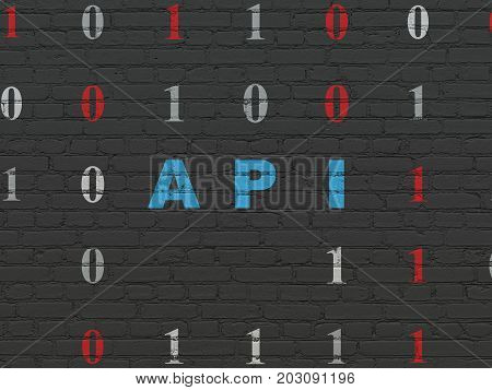 Software concept: Painted blue text Api on Black Brick wall background with Binary Code