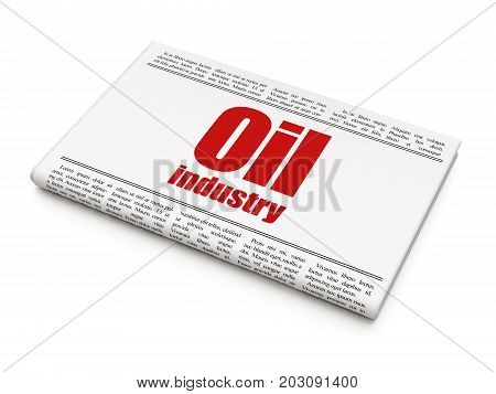 Manufacuring concept: newspaper headline Oil Industry on White background, 3D rendering