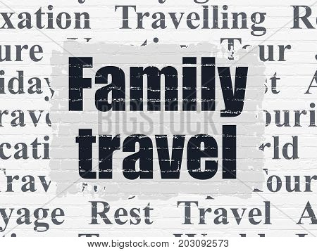 Travel concept: Painted black text Family Travel on White Brick wall background with  Tag Cloud