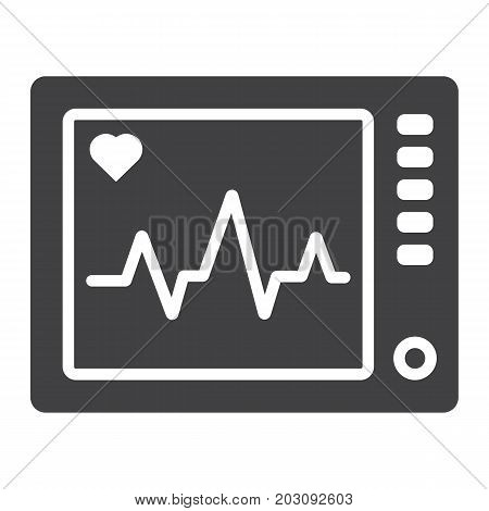 Ecg Machine glyph icon, medicine and healthcare, heartbeat sign vector graphics, a solid pattern on a white background, eps 10.