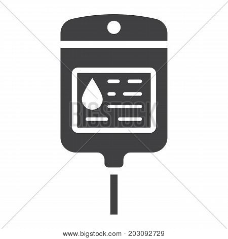 Iv bag glyph icon, medicine and healthcare, drop counter sign vector graphics, a solid pattern on a white background, eps 10.