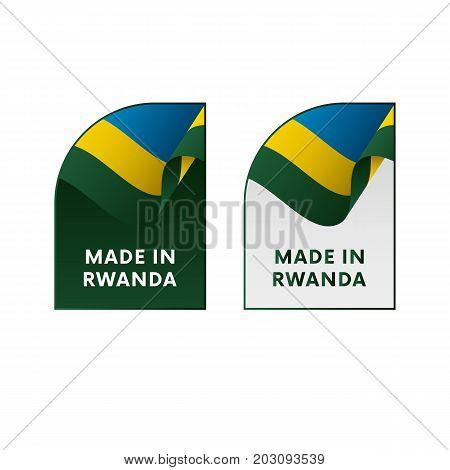 Stickers Made in Rwanda. Waving flag. Vector illustration.