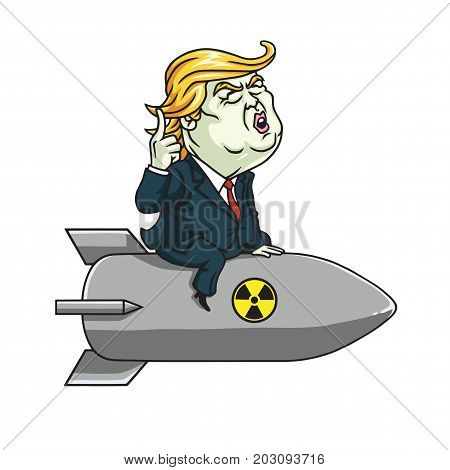 Donald Trump on Nuclear Missile. Cartoon Vector Illustration. September 6, 2017