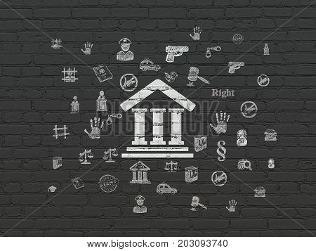 Law concept: Painted white Courthouse icon on Black Brick wall background with  Hand Drawn Law Icons
