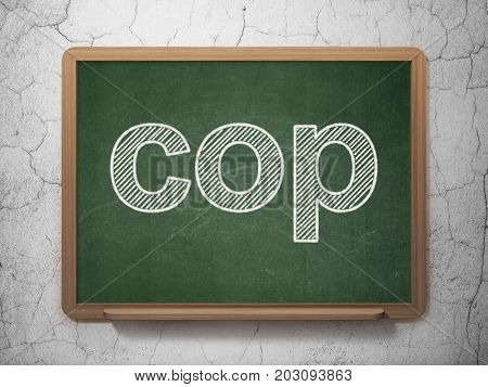 Law concept: text Cop on Green chalkboard on grunge wall background, 3D rendering