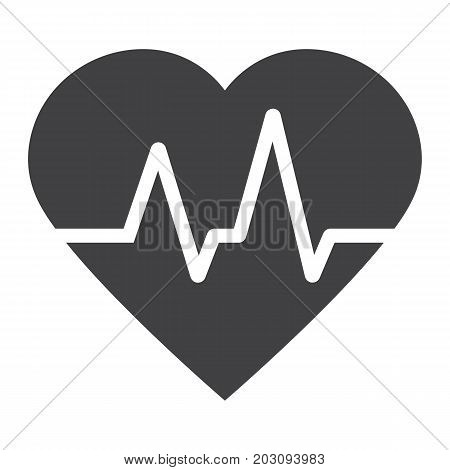 Heartbeat glyph icon, medicine and healthcare, pulse sign vector graphics, a solid pattern on a white background, eps 10.