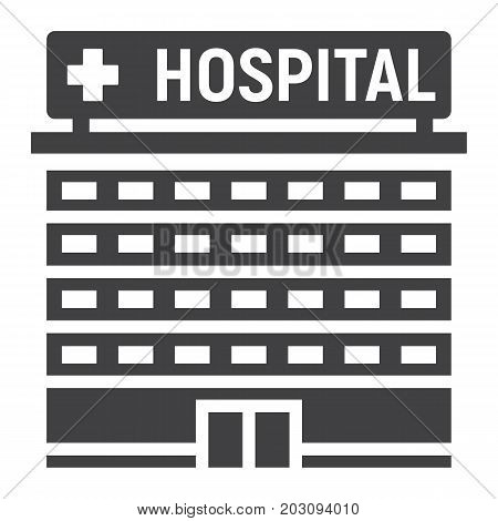 Hospital building glyph icon, medicine and healthcare, architecture sign vector graphics, a solid pattern on a white background, eps 10.
