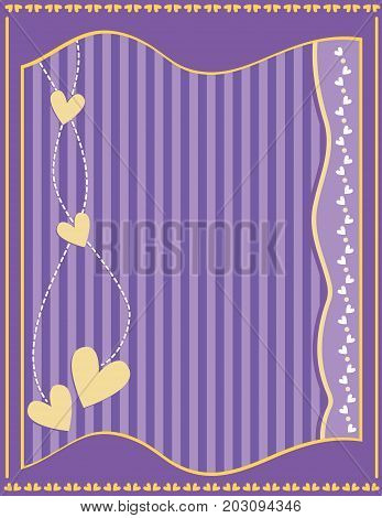 Romantic lilac background with hearts and stripes