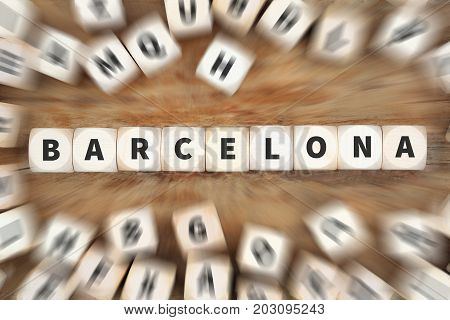 Barcelona Town City Travel Traveling Dice Business Concept
