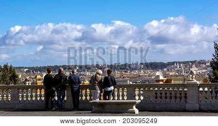 Rome Italy march 27 2017: people enjoy a breathtaking view of the eternal city from the Janiculum Hill (Il Gianicolo)