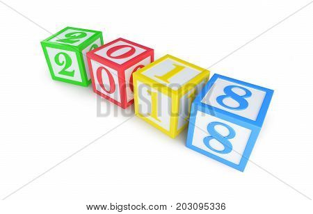 alphabet box 2018 new year on a white background 3D illustration 3D rendering