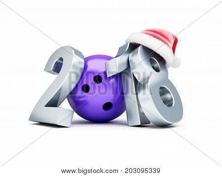 Bowling 2018 new year santa hat on a white background 3D illustration 3D rendering