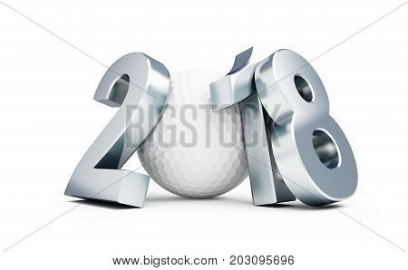 Golf 2018 new year on a white background 3D illustration 3D rendering