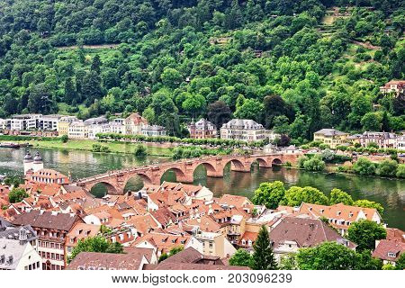 Old town of Heidelberg Germany with view of Alte Brucke bridge over the Neckar River.
