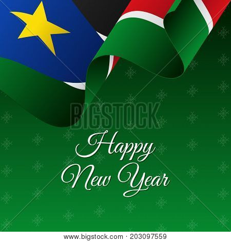 Happy New Year banner. South Sudan waving flag. Snowflakes background. Vector illustration.