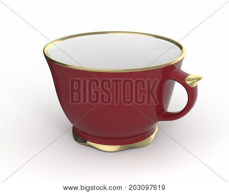 Isolated antique porcelain vinous tea cup with gold edging on white background. Vintage crockery. 3D Illustration.