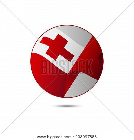 Tonga flag button with shadow on a white background. Vector illustration.
