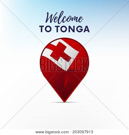 Flag of Tonga in shape of map pointer or marker. Welcome to Tonga. Vector illustration.