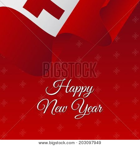 Happy New Year banner. Tonga waving flag. Snowflakes background. Vector illustration.