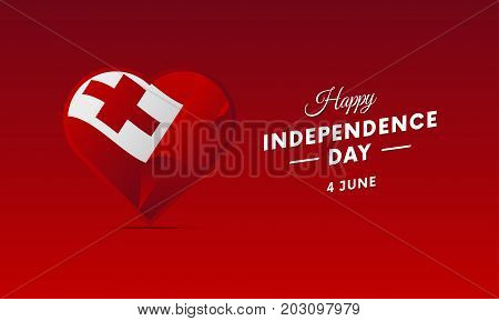 Banner or poster of Tonga independence day celebration. Waving flag. Vector illustration.