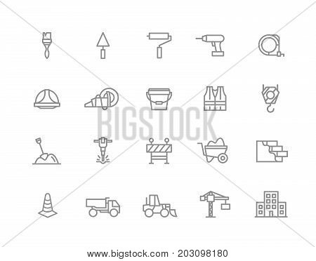 Set of vector construction and repair line icons. Brush, roller, drill, helmet, paint, cone, crane, hook, wall, truck, cament, jackhammer, excavator, workwear, fence, builder and more. Editable Stroke.