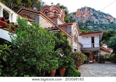 Crete Island, Greece - June 08, 2017: The monastery Agios Georgios, located in the Selinari gorge on Crete, Greece