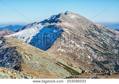 Footpath leading up the peak Dumbier Low Tatras Slovak republic. Hiking theme. Mountains scene.