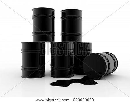 3D illustration of black oil barrel isolated on black background