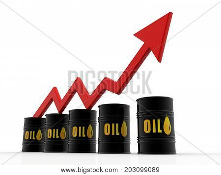 Increasing oil price , high price of oil, growing arrow graph. 3d render