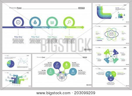 Infographic design set can be used for workflow layout, diagram, annual report, presentation, web design. Business and banking concept with process, line, pie, Venn and percentage charts.