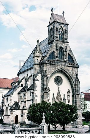 St. Michael chapel in Kosice Slovak republic. Architectural scene. Vertical composition. Old photo filter.