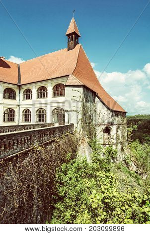 Close up photo of Veveri castle Czech republic. Ancient architecture. Travel destination. Beauty photo filter.