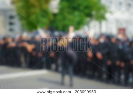 Blurred view of crowd on city street