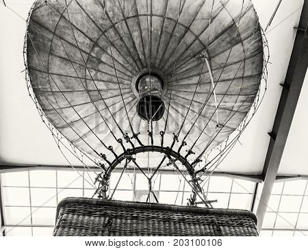 Historic hot air balloon National technical museum in Prague Czech republic. The transportation history exhibit. Black and white photo.