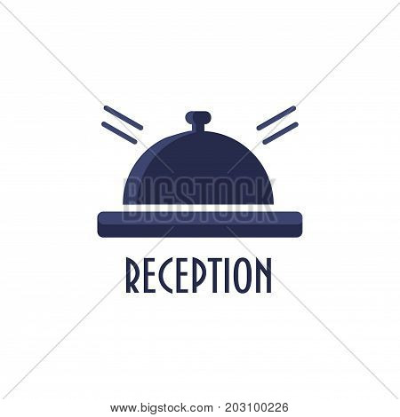 Reception bell icon. Hotel booking desk or retro service table bell vector sign. Text: Reception. Service ring icon.