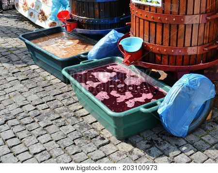 Freshly pressed must grape juice or young wine is dripping in plastic tubs from traditional basket press.